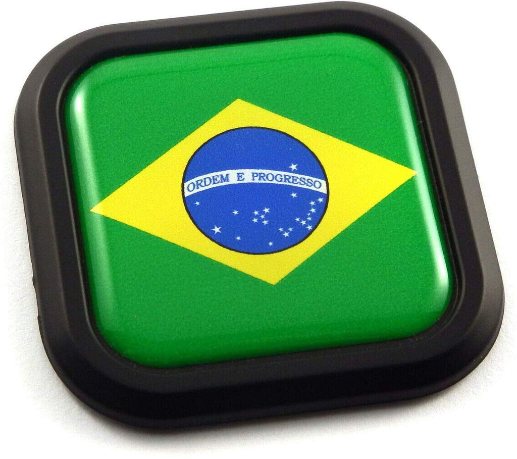 Brazil Flag Square Black rim Emblem Car 3D Decal Badge Hood Bumper sticker 2""
