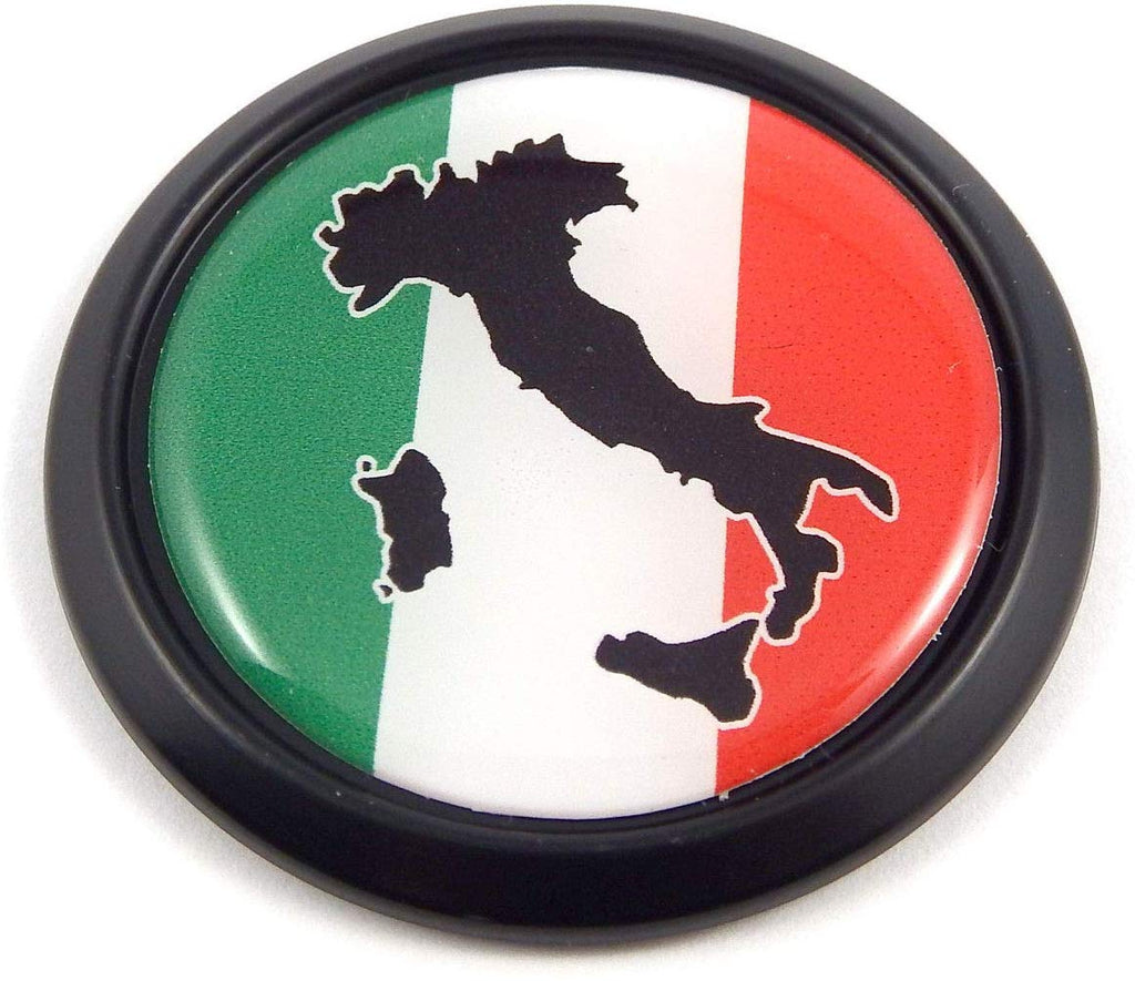 Italy Italia Black Round Flag Car Decal Emblem Bumper 3D Sticker 1.85""