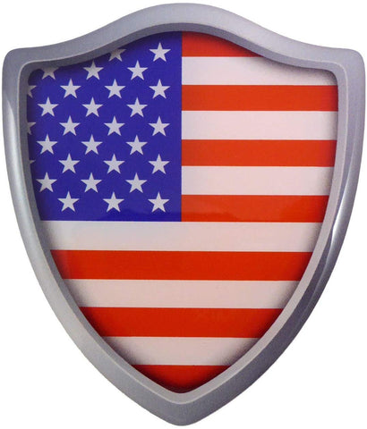 "USA American Flag Shield Domed Decal 3D Look Edge Emblem Resin Sticker 2.6""x3"""