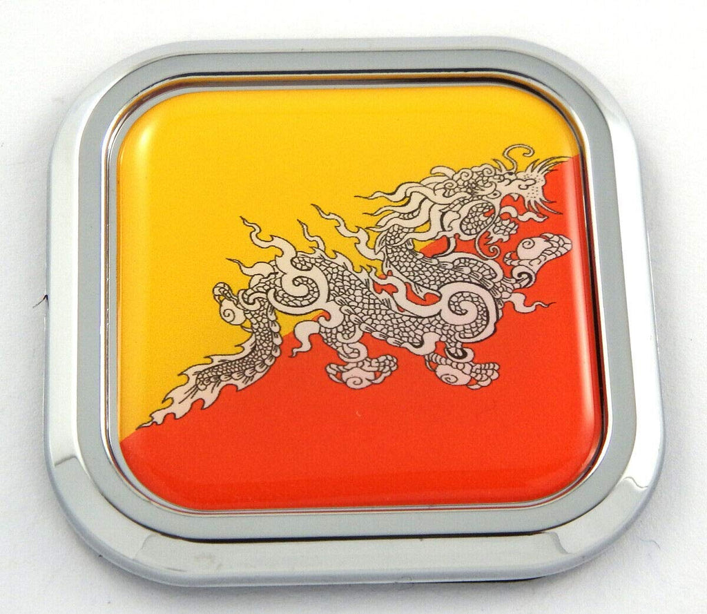 Bhutan Flag Square Chrome rim Emblem Car 3D Decal Badge Hood Bumper sticker 2""