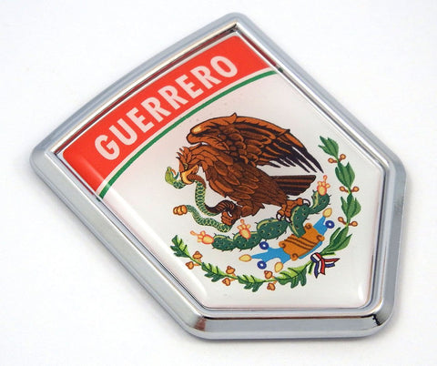 Guerrero Mexico Flag Mexican Car Emblem Chrome Bike Decal 3D Sticker MX25