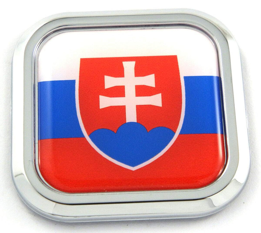 Slovakia Flag Square Chrome rim Emblem Car 3D Decal Badge Hood Bumper sticker 2""