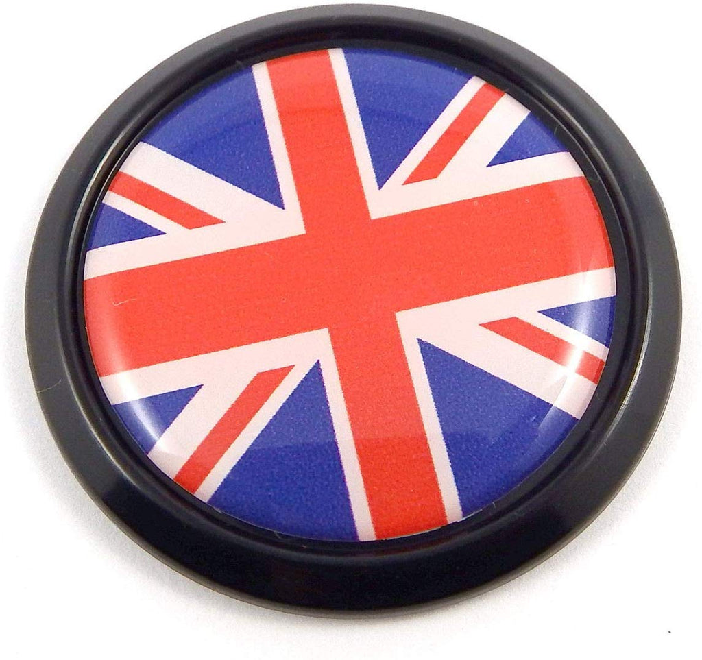 Great Britain British Black Round Flag Car Decal Emblem Bumper 3D Sticker 1.85""
