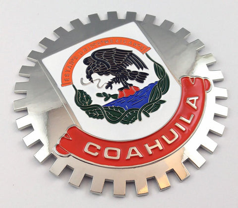 Coahuila Mexico Grille Badge for car truck grill mount Mexican flag