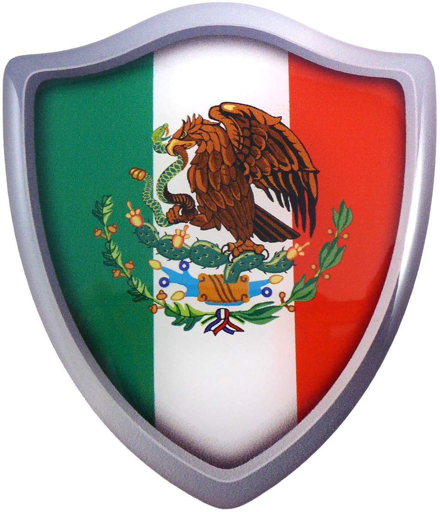 "Mexico Shield Crest Domed Decal 3D Look Enhanced Emblem Resin car Sticker 2.6"" x 3"""