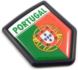 Portugal Portuguese Flag Black Shield Car Bike Decal Crest Emblem 3D Sticker
