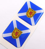 "Scotland Flag Square Domed Decal car Bike Gel Stickers 1.5"" 2pc"