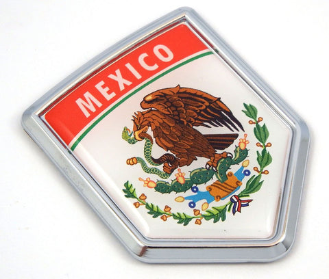 MX10 Mexico Flag Mexican Emblem Chrome Car Decal Sticker