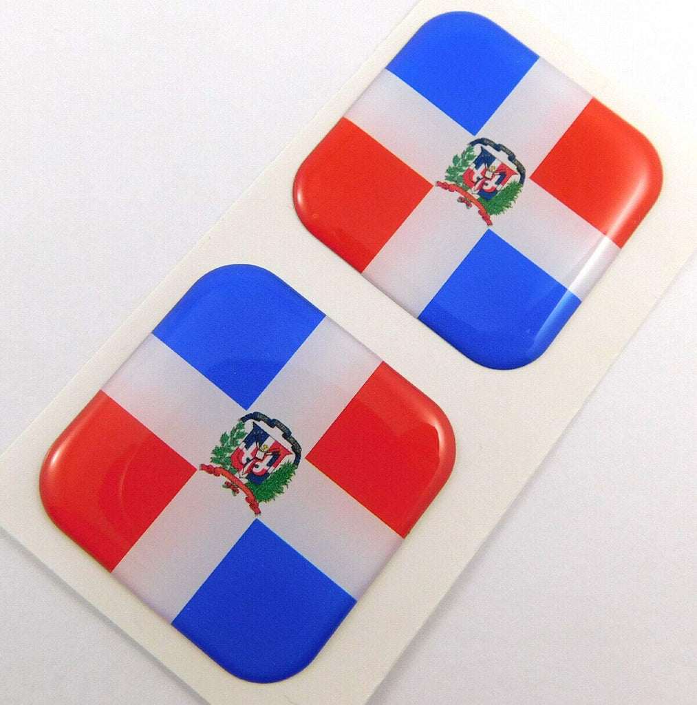 "Dominican Republic Flag Square Domed Decal Emblem car Bike Gel Stickers 1.5"" 2pc"