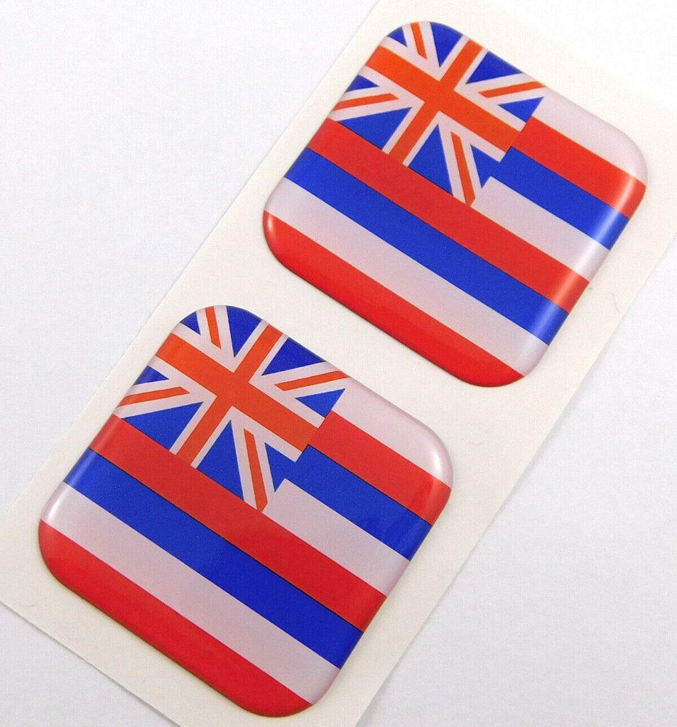 "Hawaii Flag Square Domed Decal car Bike Gel Stickers 1.5"" 2pc"