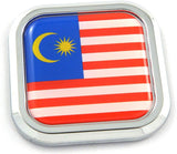 Malaysia Flag Square Chrome rim Emblem Car 3D Decal Badge Hood Bumper sticker 2""