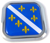 Bosnia Old Style Flag Square Chrome rim Emblem Car 3D Decal Badge Bumper 2""