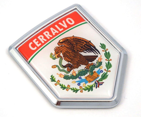 Cerralvo Mexico Flag Mexican Car Emblem Chrome Bike Decal 3D Sticker MX5