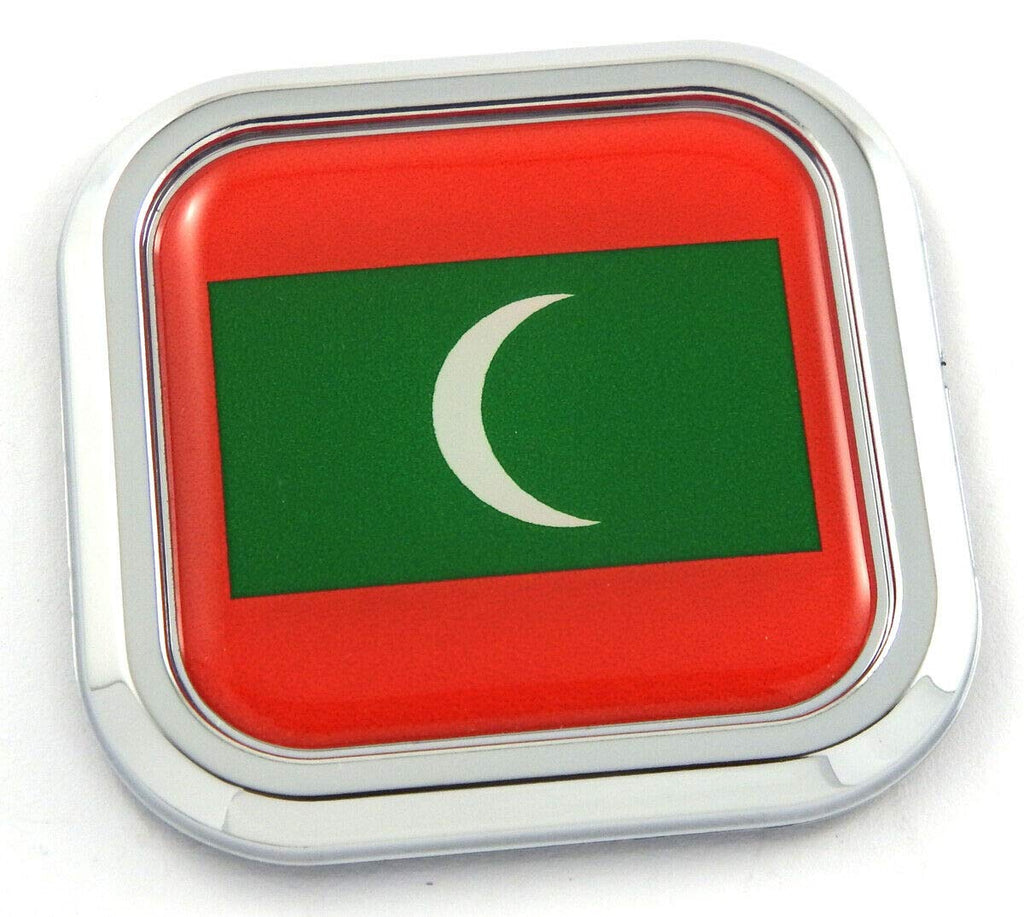 Maldives Flag Square Chrome rim Emblem Car 3D Decal Badge Hood Bumper sticker 2""