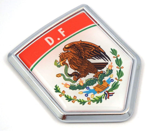 DF D.F Mexico Flag Mexican Car Emblem Chrome Bike Decal 3D Sticker MX27