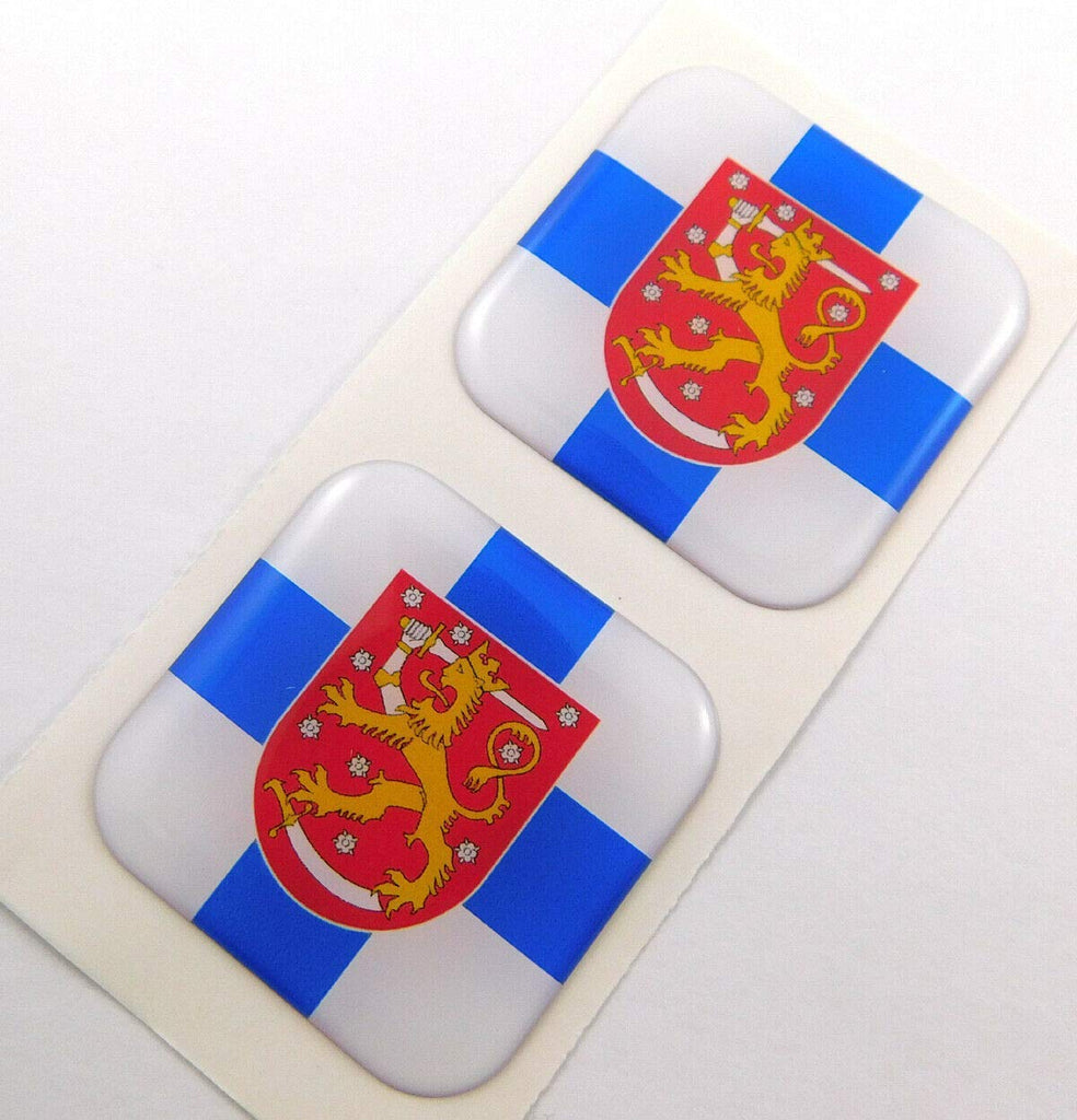 "Finland Finnish Flag Square Domed Decal car Bike Gel Stickers 1.5"" 2pc"
