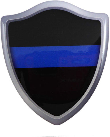 Thin Blue line Police Shield Crest Domed Decal 3D Look Emblem Resin car Sticker
