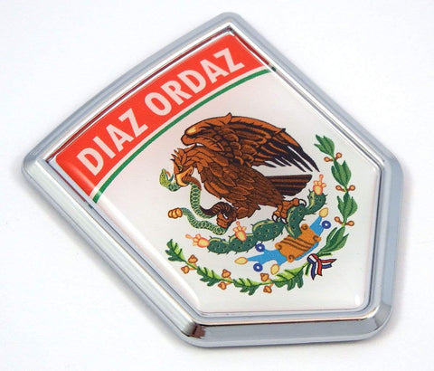 Diaz Ordaz Mexico Flag Mexican Car Emblem Chrome Bike Decal 3D Sticker MX6