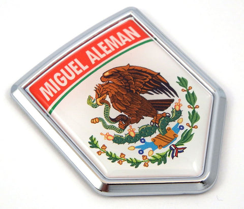 Miguel Aleman Mexico Flag Mexican Car Emblem Chrome Bike Decal 3D Sticker MX15