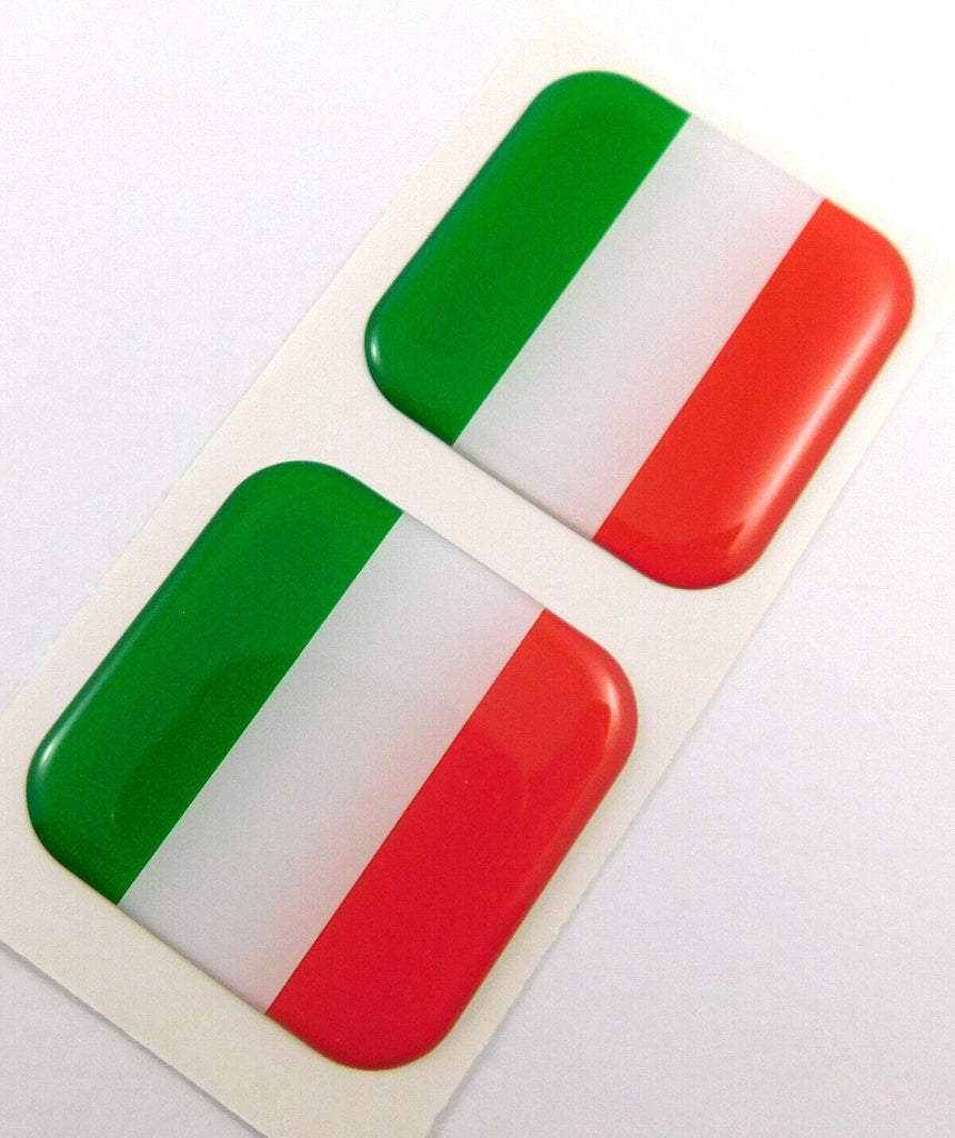 "Italy Italia Italian Flag Square Domed Decal car Bike Gel Stickers 1.5"" 2pc"
