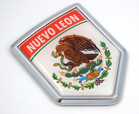 Nuevo Leon Mexico Flag Mexican Car Emblem Chrome Bike Decal 3D Sticker MX9