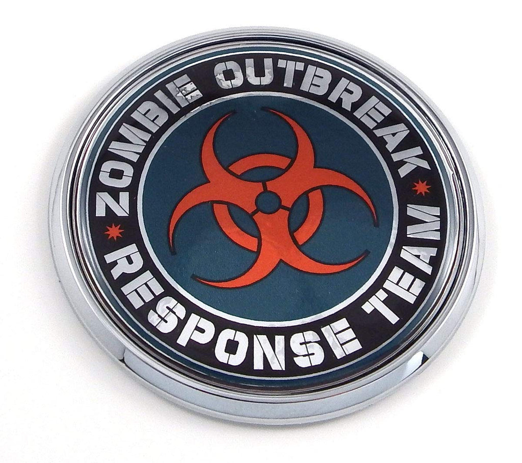 "Zombie Outbreak 2.75"" Car Chrome Round Emblem Decal 3D Badge"