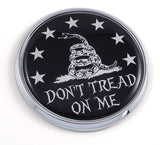"Don't Tread on Me Flag 2.75"" Car Chrome Round Emblem Decal Sticker 3D Badge"