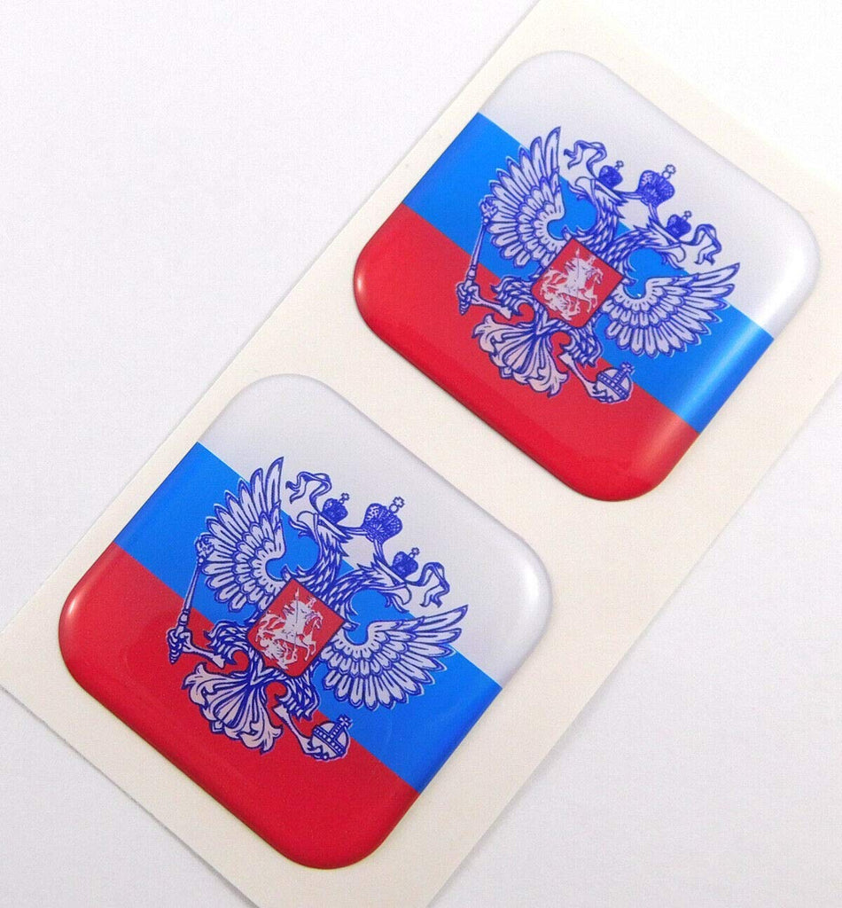 "Russia Russian Flag Square Domed Decal car Bike Gel Stickers 1.5"" 2pc"