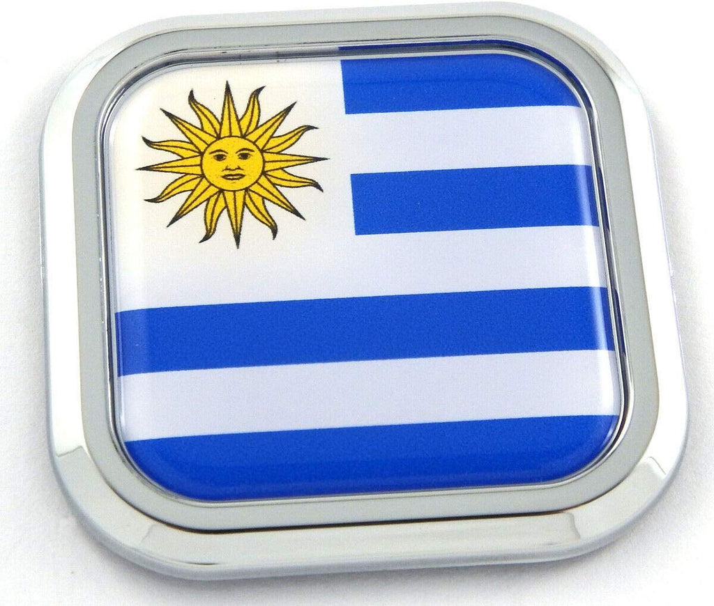 Uruguay Flag Square Chrome rim Emblem Car 3D Decal Badge Hood Bumper sticker 2""