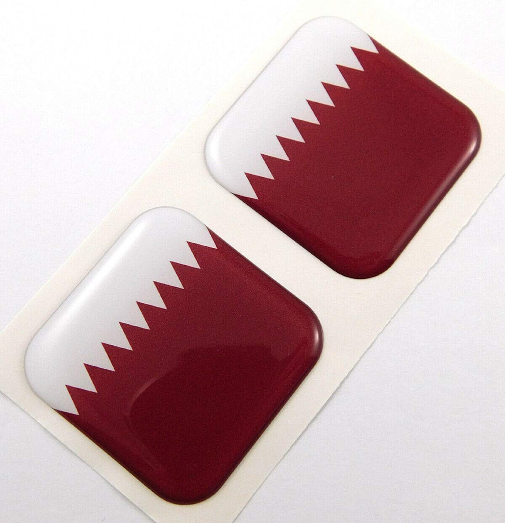 "Qatar Flag Square Domed Decal car Bike Gel Stickers 1.5"" 2pc"