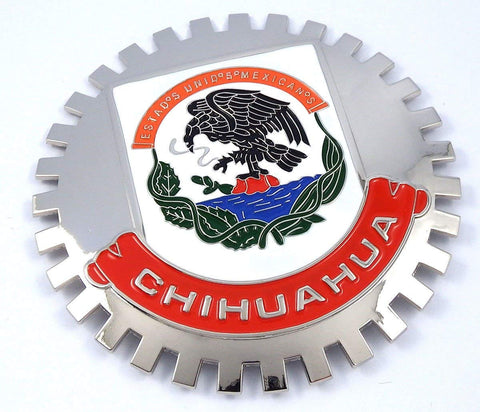 Grille Badge Chihuahua Mexico CRES for car Truck Grill Mount Flag Emblem Chrome