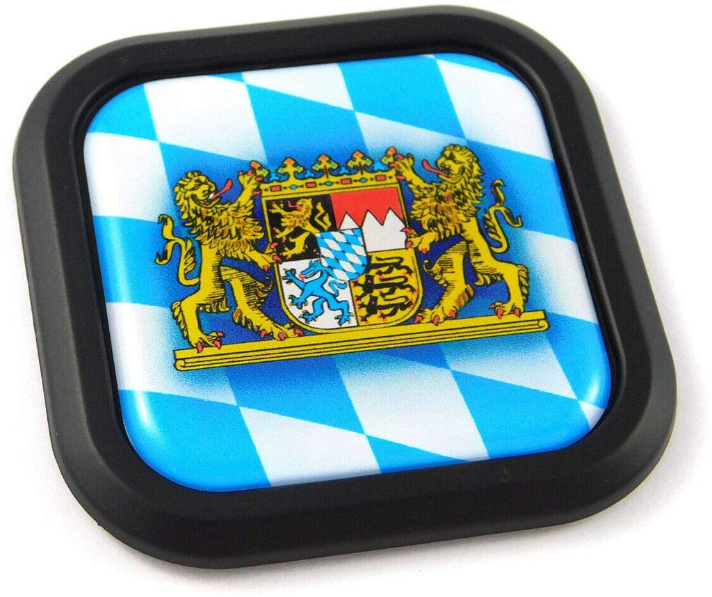 Bavaria Flag German Square Black rim Emblem Car 3D Decal Badge Bumper 2""