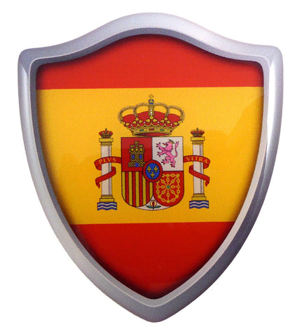 "Spain Flag Shield Domed Decal 3D Look Edge Emblem Resin car Sticker 2.6""x3"""