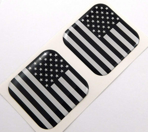 "USA Black American Flag Square Domed Decal car Bike Gel Stickers 1.5"" 2pc"