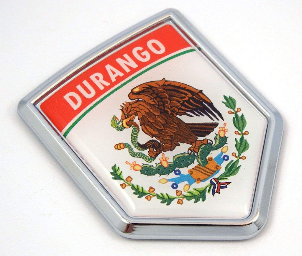 Durango Mexico Flag Mexican Car Emblem Chrome Bike Decal 3D Sticker MX23