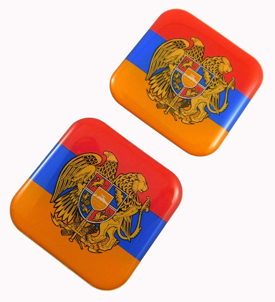"Armenia Flag Square Domed Decal Emblem car Biker Gel Stickers 1.5"" 2pc."