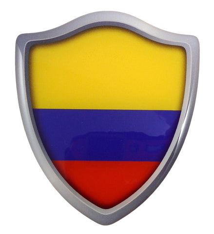 "Colombia Flag Shield Domed Decal 3D Look Emblem Resin car Sticker 2.6""x3"""