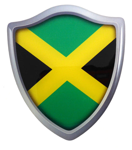 "Jamaica Flag Shield Domed Decal 3D Look Emblem Resin car Sticker 2.6""x3"""