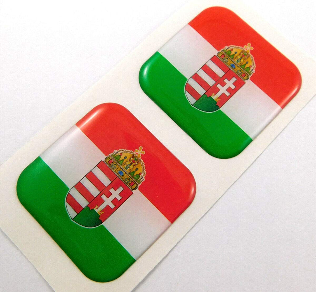 "Hungary Flag Square Domed Decal car Bike Gel Stickers 1.5"" 2pc"