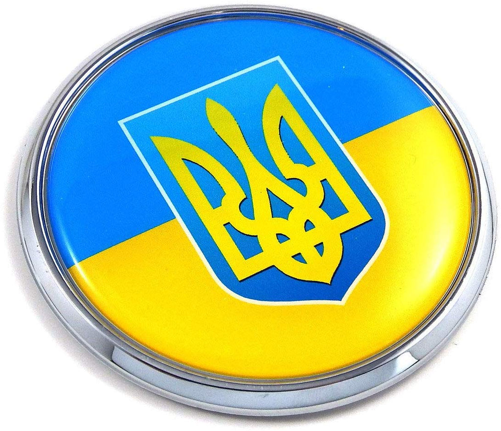 "Ukraine Ukrainian Flag with Trident 2.75"" Car Chrome Round Emblem Decal 3D Badge"