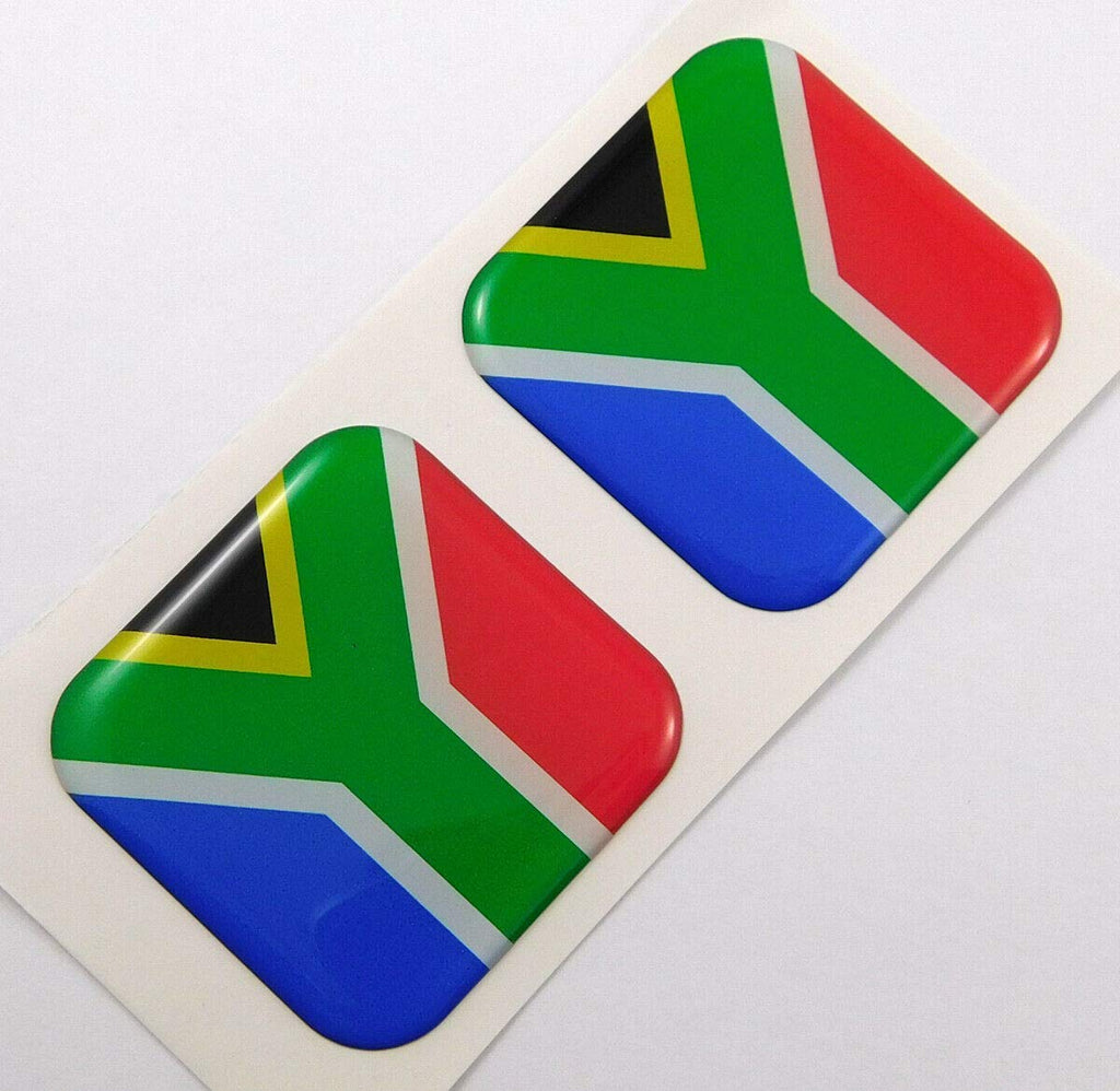"South Africa Flag Square Domed Decal car Bike Gel Stickers 1.5"" 2pc"