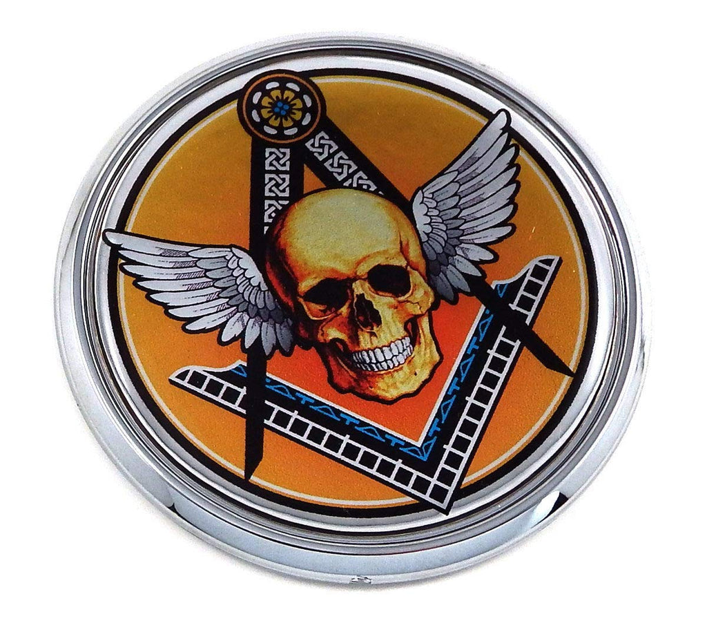 "Mason Masonic with Skull Flag 2.75"" Car Chrome Round Emblem Decal 3D Badge"