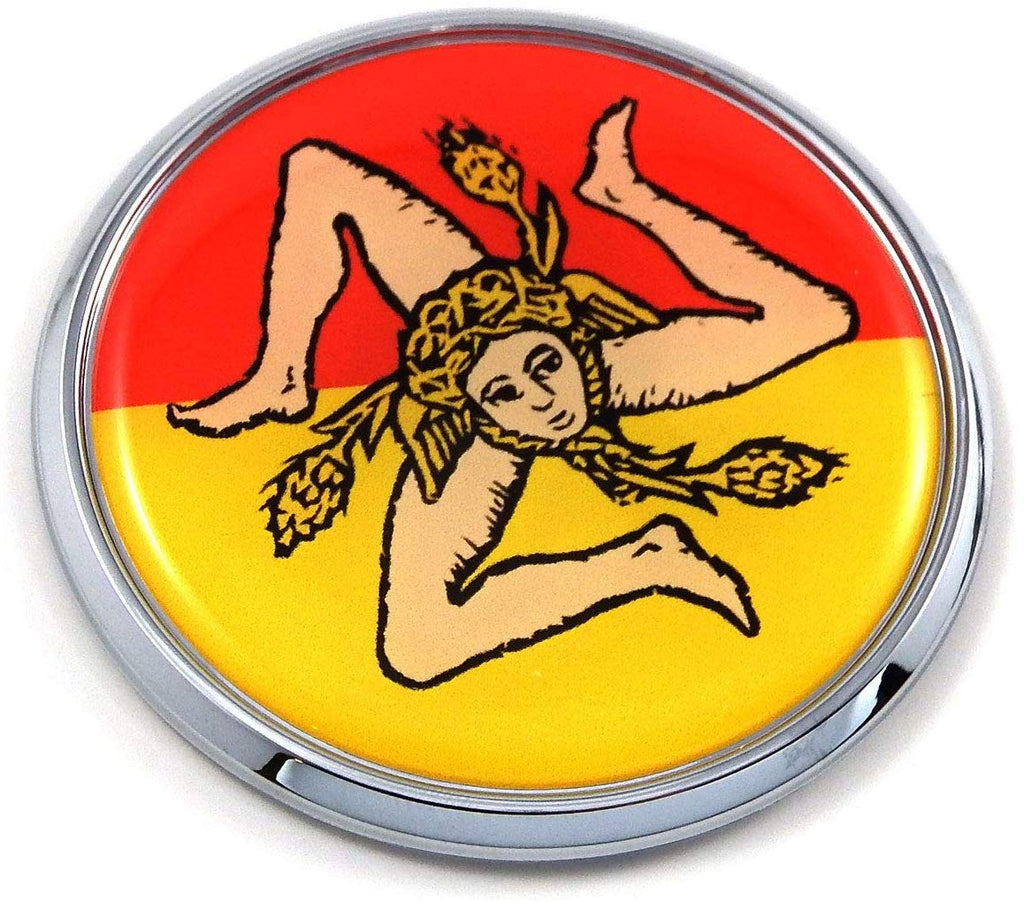 "Sicily Italia Flag 2.75"" Car Chrome Round Emblem Decal 3D Sticker Badge"