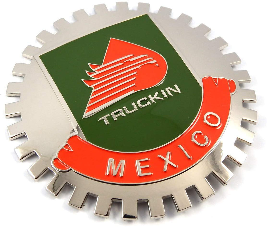Truckin Mexico Grille Badge for car Truck Grill Mount Mexican Flag