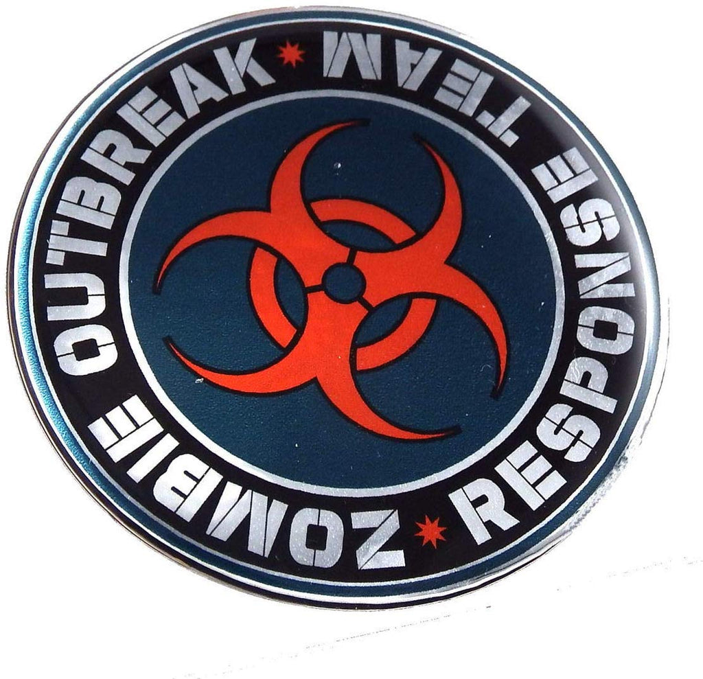 Zombie Outbreak Round Domed car Decal Emblem 3D Chrome Sticker 2.44""