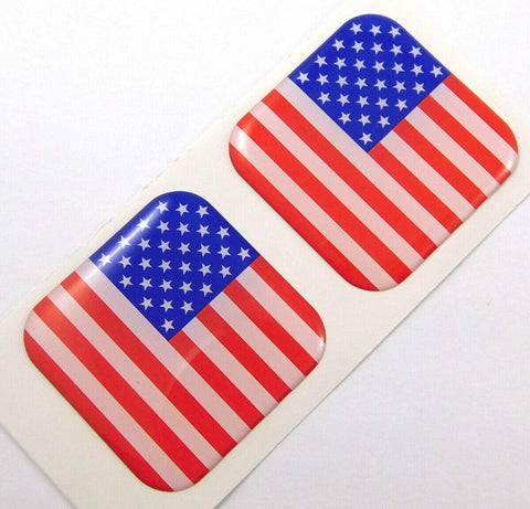 "USA American Flag Square Domed Decal car Bike Gel Stickers 1.5"" 2pc"