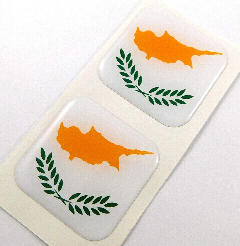 "Cyprus Flag Square Domed Decal Emblem car Bike Gel Stickers 1.5"" 2pc."