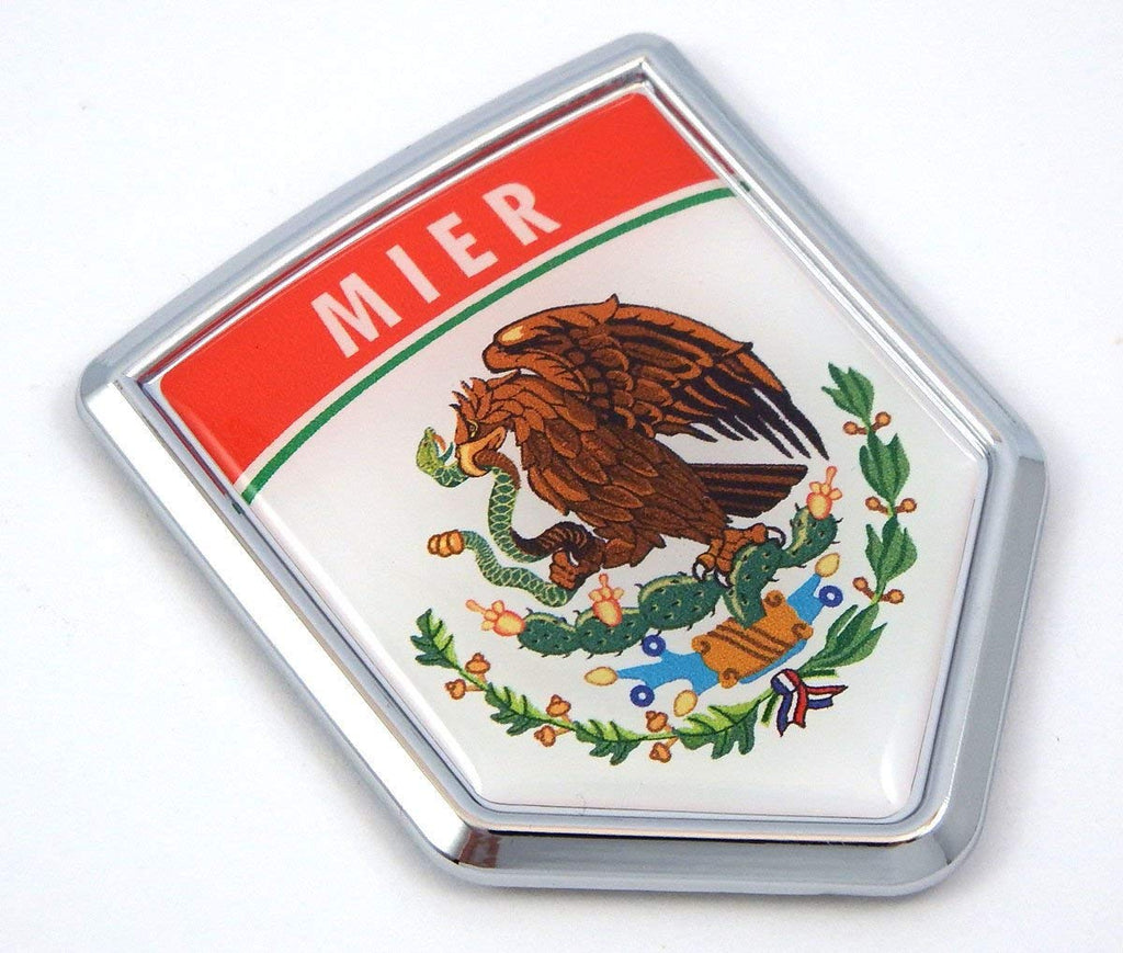 Mier Mexico Flag Mexican Car Emblem Chrome Bike Decal 3D Sticker MX16