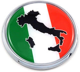 "Italy Italia Italian Flag 2.75"" Car Chrome Round Emblem Decal 3D Badge"