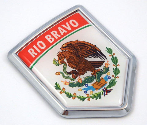 MX1 Rio Bravo Mexico Flag Mexican Car Emblem Chrome Bike Decal 3D Sticker